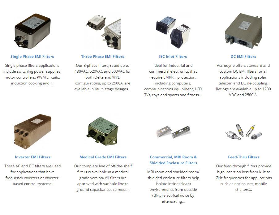 Some of Astrodyne's EMI Filters