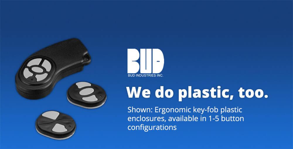 Bud plastic key-fob enclosures