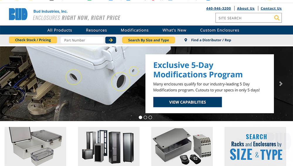 electronics enclosures website by Bud